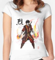 Zuko from Avatar with sumi ink and watercolor Women's Fitted Scoop T-Shirt