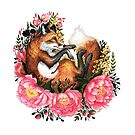 Fox and Flowes in White by Lindsey Bell