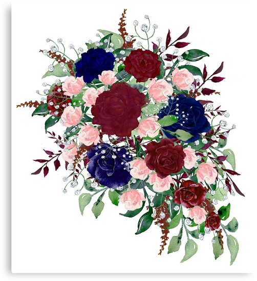 """Muted Blue And Floral Red: """"Navy Blue Burgundy Watercolor Roses Bouquet Flowers"""