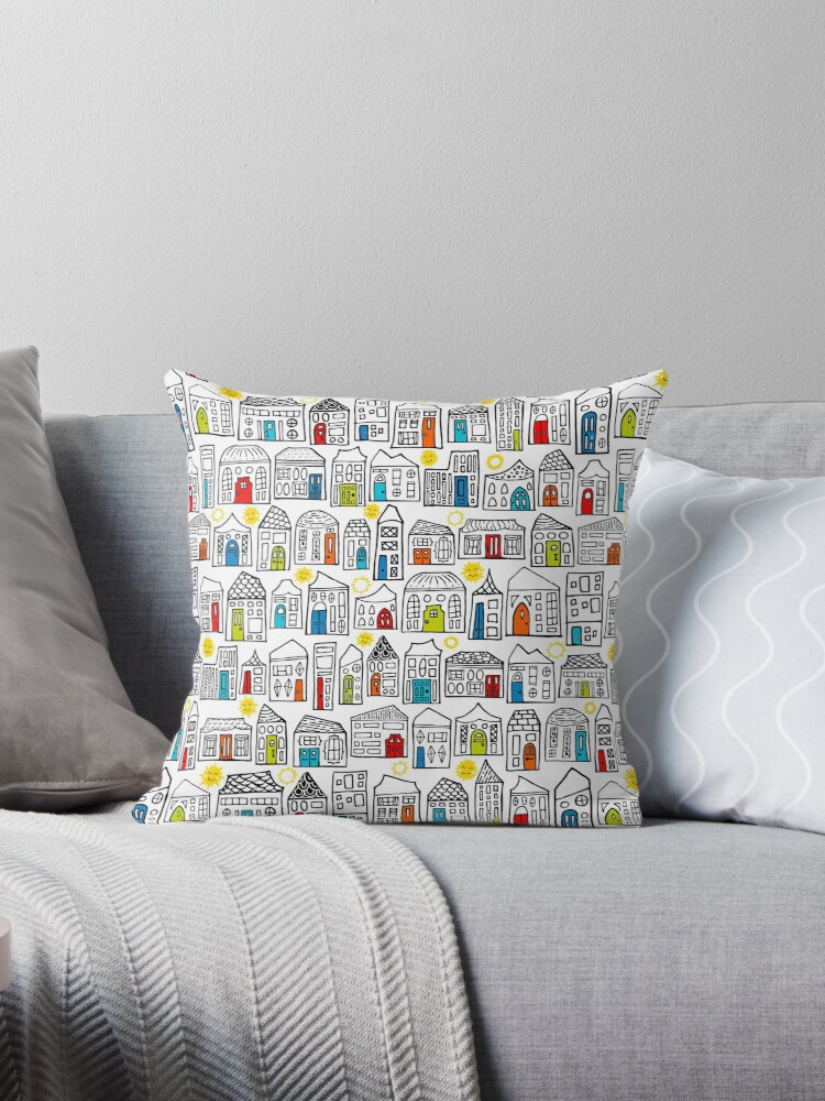 Happy Day in the City // Home Sweet Home in Quirky Neighborhood with Bright Smiling Sun  by ZirkusDesign