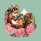 Fox and Flowers in Green by Lindsey Bell
