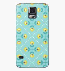 Scandinavian flowers 10, yellow-gray-teal, retro pattern Case/Skin for Samsung Galaxy