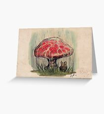 Mouse Sheltering Under Toadstool Greeting Card