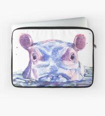 Glückliche Flusspferd-Aquarell-Malerei Laptoptasche