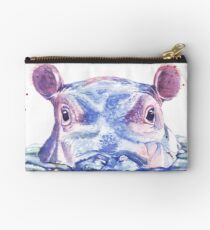 Glückliche Flusspferd-Aquarell-Malerei Täschchen