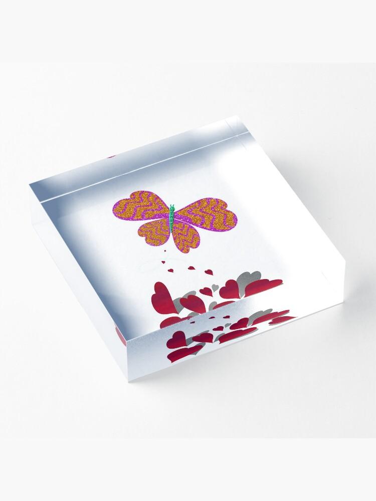 Vista alternativa de Bloque acrílico Con All My Heart Butterfly