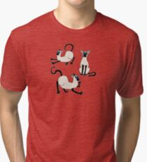 Three Siamese Cats Tri-blend T-Shirt