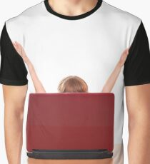 happy little girl raised his hands behind laptop Graphic T-Shirt