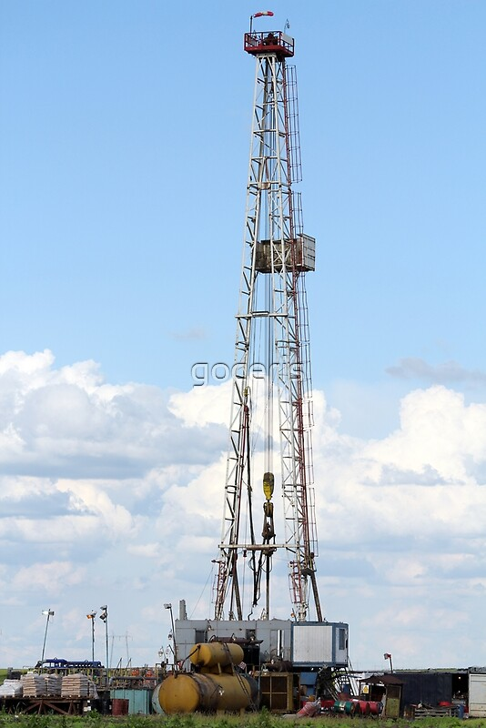 oil drilling rig machinery on field | Art Print