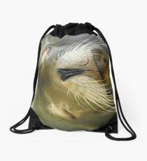 Sleepy Californian Sealion Drawstring Bag