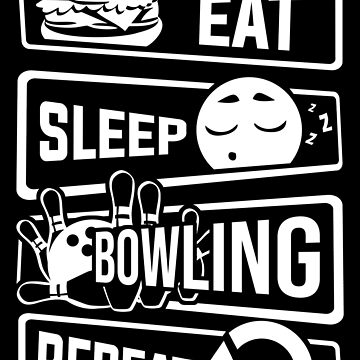 Eat Sleep Bowling Repeat - Cones Strike Spare Pin by anziehend