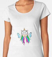Cute and Beautiful Rainbow Unicorn Girl with Blue Wings and Horn. Animal, Horse, Fantasy, Dream, Magical, and Sweet Graphic Design Resources Concept. Vector Illustration. Women's Premium T-Shirt