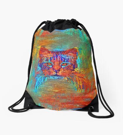 Ninja cat hiding in Modern #Art Drawstring Bag