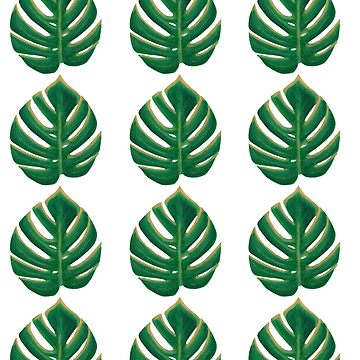 Split Leaf Philodendron Monstera Deliciosa Painting Sticker Pack by reujken