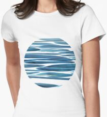 Blue wave chaotic structures elongating horizontally Women's Fitted T-Shirt