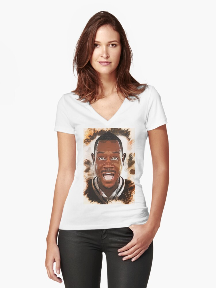 Martin Lawrence - Caricature Women's Fitted V-Neck T-Shirt Front