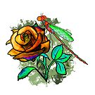 Rose Dragonfly Bronze by ElliePDesigns
