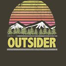 Take me to the Mountains Outsider Outdoors Adventure Sunset Badge Retro Vintage Grunge Mountains Pine Trees Vacation Graphic Tee T Shirt by DesIndie