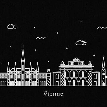 Vienna Skyline Minimal Line Art Poster by geekmywall