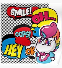 Funny Multicolor Comic Unicorn Pop Art Poster