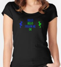 Abe's Hello (Blue & Green Retro) Women's Fitted Scoop T-Shirt
