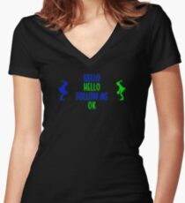 Abe's Hello (Blue & Green Retro) Women's Fitted V-Neck T-Shirt