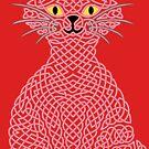 « Chat en entrelacs - Rouge » par Hippopottermiss