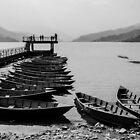 Rowboats on Phewa Lake by Valerie Rosen