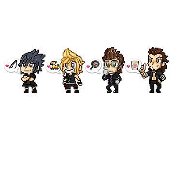 Final Fantasy Bros Pixel Love by geekmythology