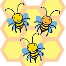 Cute Bees With Honeycomb by GroglioArt