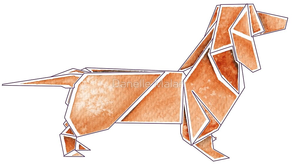 Origami Dachshund Red By Danelle Malan Redbubble