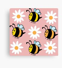 Chubby Bees With Daisies  Canvas Print