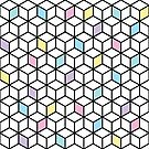 Geometric Cubes Pink Purple Teal Blue by Fangpunk