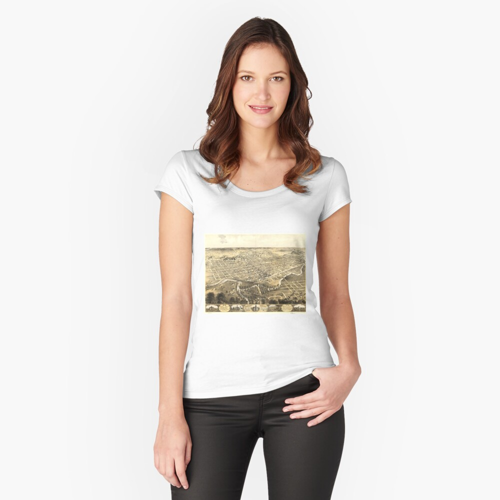 Vintage Pictorial Map of Fort Wayne Indiana (1868) Fitted Scoop T-Shirt