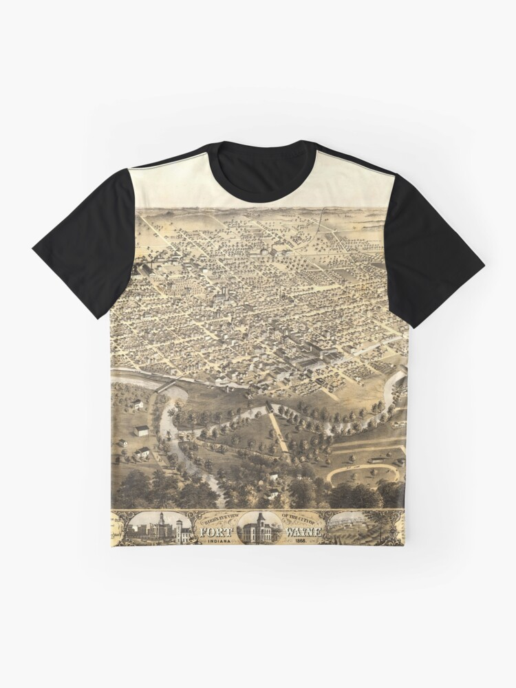 Alternate view of Vintage Pictorial Map of Fort Wayne Indiana (1868) Graphic T-Shirt