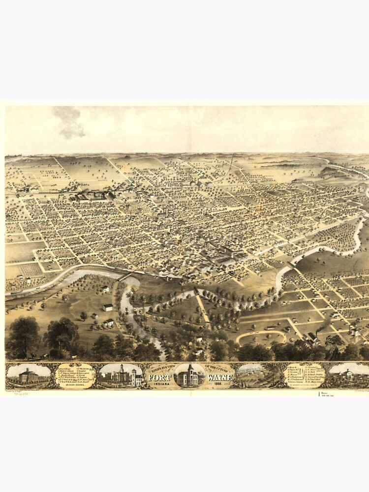 Vintage Pictorial Map of Fort Wayne Indiana (1868) by BravuraMedia