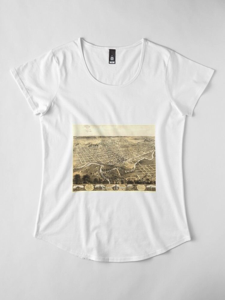 Alternate view of Vintage Pictorial Map of Fort Wayne Indiana (1868) Premium Scoop T-Shirt