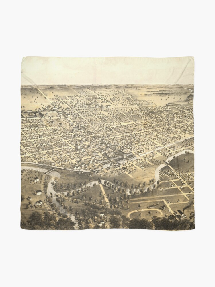 Alternate view of Vintage Pictorial Map of Fort Wayne Indiana (1868) Scarf