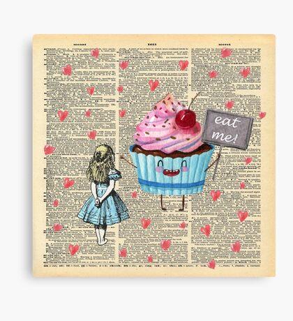Alicia en el país de las maravillas - Eat Me - Página del diccionario de la vendimia Lienzo
