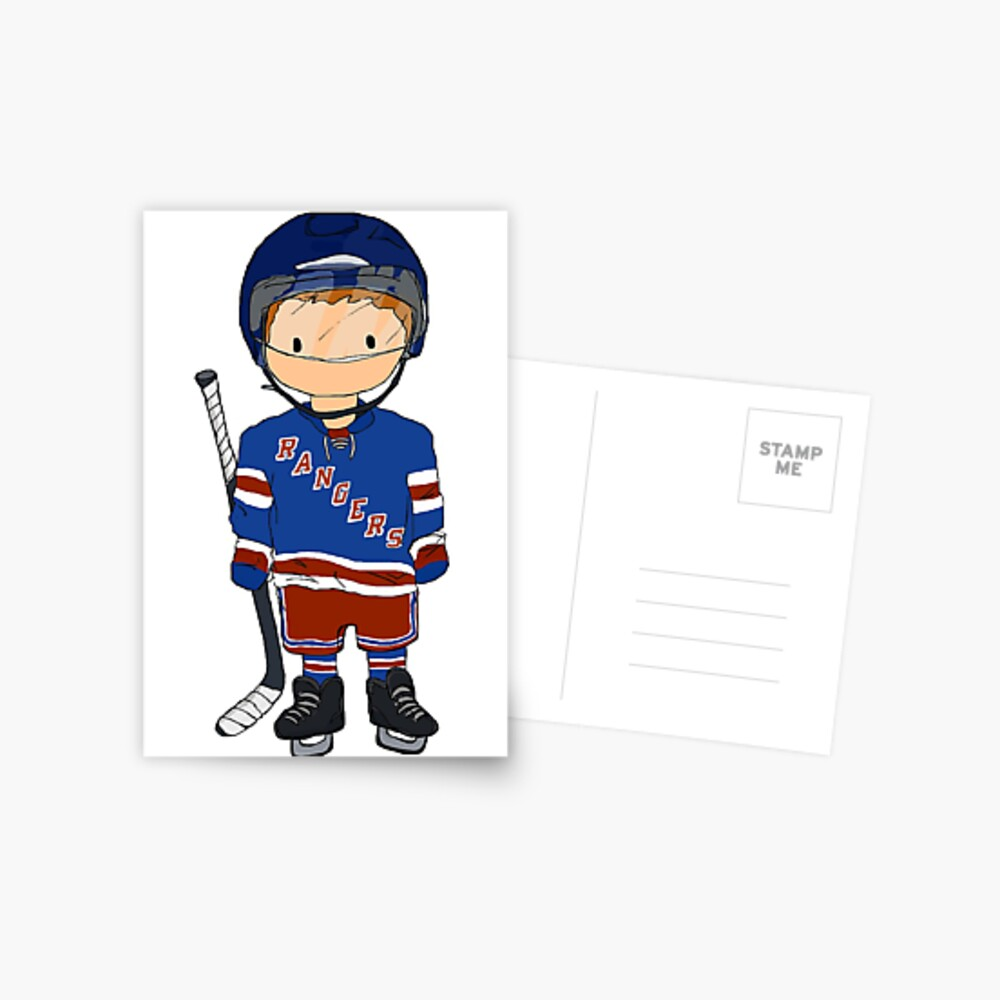 mini rangers jugador de hockey (camiseta local) Postal