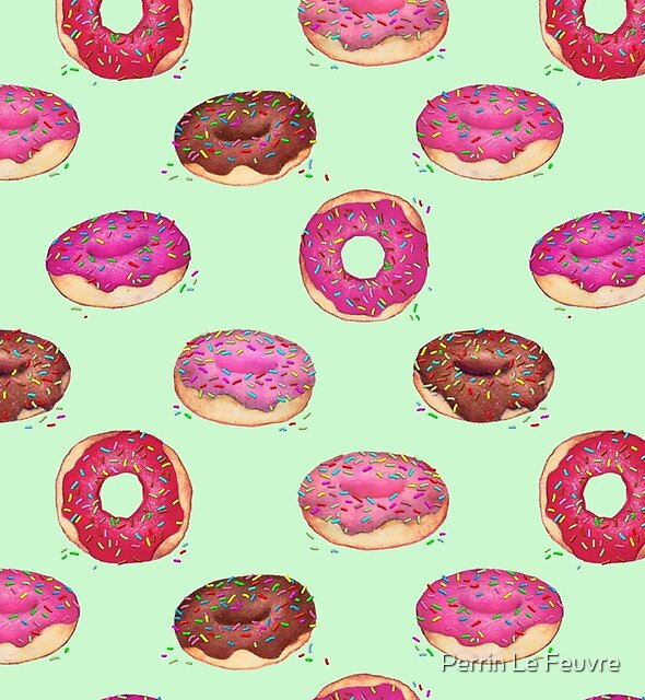 Delicious Donuts - on mint green  by Perrin Le Feuvre