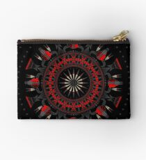 Buffalo Skull and Feathers (Red) Studio Pouch