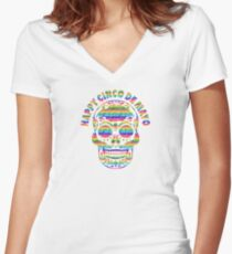 Happy Cinco de Mayo Skull T Shirt Women's Fitted V-Neck T-Shirt