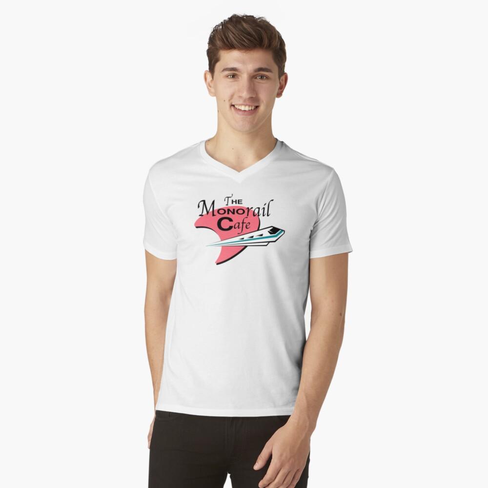 Das Einschienenbahn-Cafe T-Shirt mit V-Ausschnitt