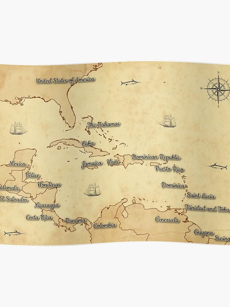 Karibik Karte.Vintage Style Karte Der Karibik Mittelamerika Poster