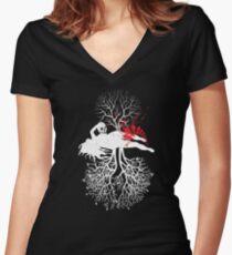 Yin  Women's Fitted V-Neck T-Shirt