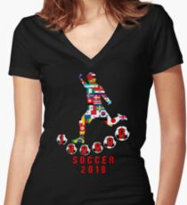 Russia 2018 World Cup - Soccer Qualified Team Women's Fitted V-Neck T-Shirt
