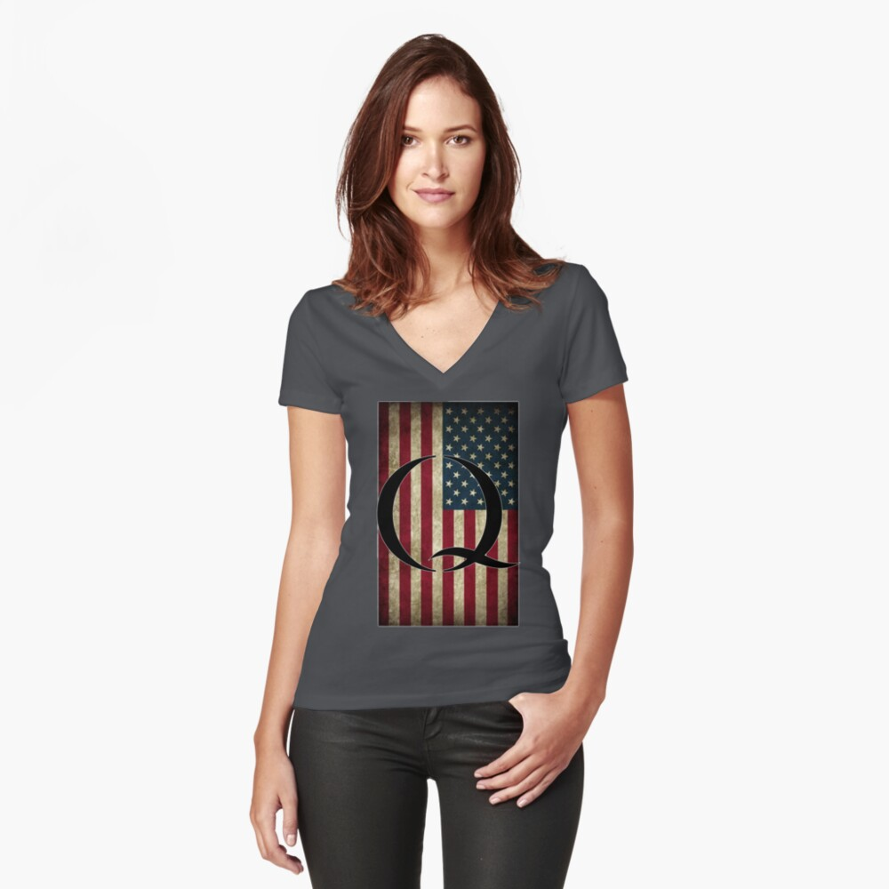 Q QANON AMERICA USA - WHERE WE GO ONE Fitted V-Neck T-Shirt