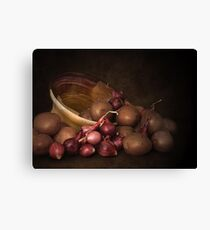 Pottery, Potatoes And Pearl Onions Canvas Print