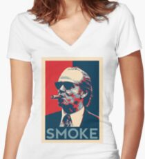Smoke - Nicholson with cigar obama style poster graphic Women's Fitted V-Neck T-Shirt